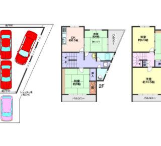 ガレージ4台可能な5DKの家