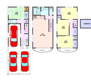 ガレージ3台可能な家